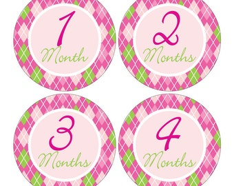 12 Monthly Baby Milestone Waterproof Glossy Stickers - Just Born - Newborn - Weekly stickers available - Design M013-01