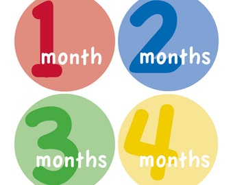 12 Monthly Baby Milestone Waterproof Glossy Stickers - Just Born - Newborn - Weekly stickers available - Design M014-02