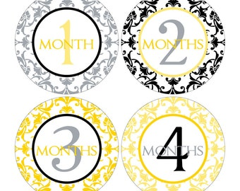 12 Monthly Baby Milestone Waterproof Glossy Stickers - Just Born - Newborn - Weekly stickers available - Design M007-03