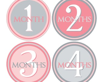 12 Monthly Baby Milestone Waterproof Glossy Stickers - Just Born - Newborn - Weekly stickers available - Design M006-02