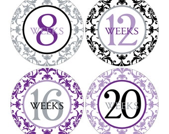 12 Weekly Pregnancy Mama-to-be Maternity Waterproof Glossy Stickers  - Monthly stickers available - Design W003-02