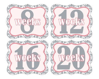 12 Weekly Pregnancy Mama-to-be Maternity Waterproof Glossy Die-cut Stickers  - Monthly stickers available - Design W004-01