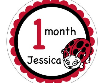 12 Lady Bug Personalized Monthly Baby Waterproof Glossy Stickers - Just Born - Newborn - Weekly stickers available - Design M009-01
