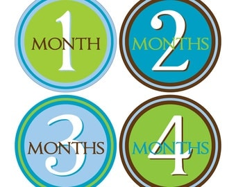 12 Monthly Baby Milestone Waterproof Glossy Stickers - Just Born - Newborn - Weekly stickers available - Design M006-03
