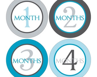 12 Monthly Baby Milestone Waterproof Glossy Stickers - Just Born - Newborn - Weekly stickers available - Design M016-01
