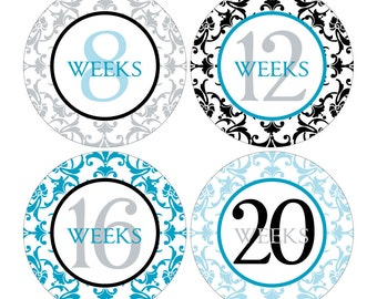 12 Weekly Pregnancy Mama-to-be Maternity Waterproof Glossy Stickers  - Monthly stickers available - Design W003-01