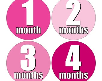 12 Monthly Baby Milestone Waterproof Glossy Stickers - Just Born - Newborn - Weekly stickers available - Design M017-06