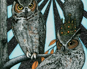 King Singsong Owls - 8x10 archival giclee print