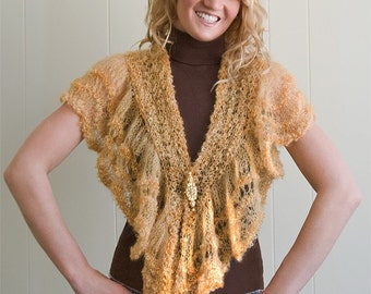 Sample SALE Unique Mohair Scarf/Shawlette ChaCha Hand Knitted OOAK