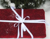 Reduced for holiday sale Reusable Giftwrap - Red Crushed Velvet Pair