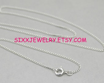 18 inch-1.4 mm Sterling Silver Premium Curb Chain - Free Shipping in the USA
