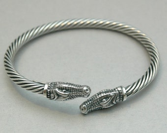 Crocodile  Bracelet in Sterling Silver - Free Shipping in the USA