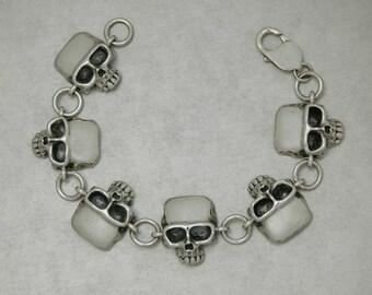Skull Bracelet in Sterling Silver - Free Shipping in the USA