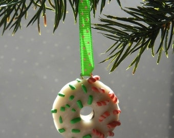Sprinkles and Candy Cane bits Donut Shop inspired Holiday Donut Christmas Ornament