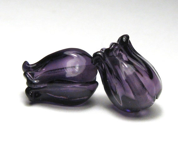 Lampwork Glass Beads JAPONICA sculptural flowers in violet purple glass handmade supplies sra