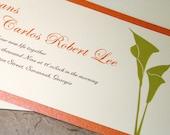 Calla Lily Wedding Invitation, Floral horizontal tea-length