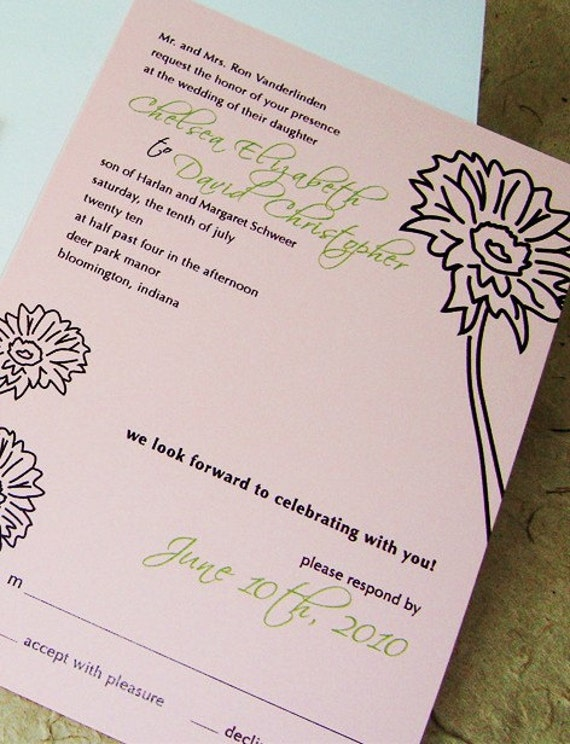 Wedding Invitation tear off response postcard with flower illustration