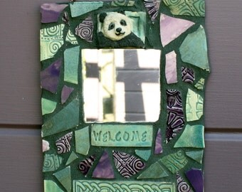 Mosaic Welcome Panda Celtic Knot Mirror-Purples and Greens