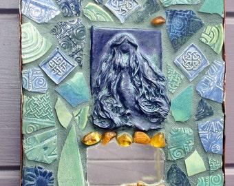 Mermaid Mosaic Amber Celtic Knot Mirror