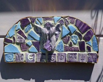 Mosaic Purple and Blue Fairy Garden Welcome Sign Copper Trim