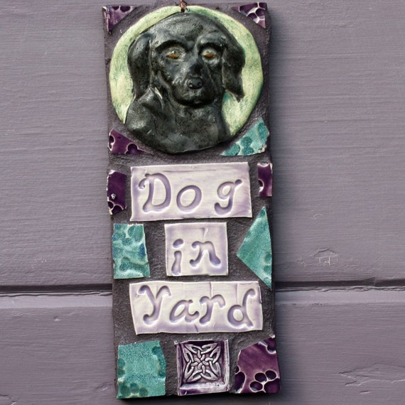 Black Labrador Retriever  DOG IN YARD Mosaic Plaque