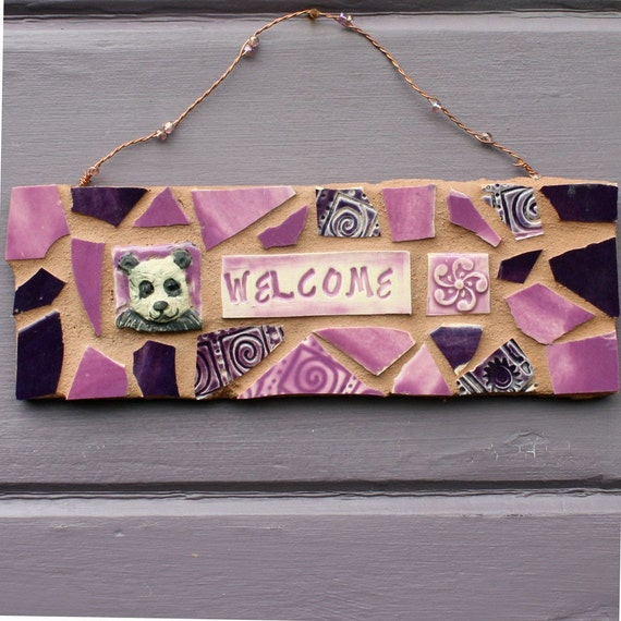 Mosaic Panda Welcome Sign