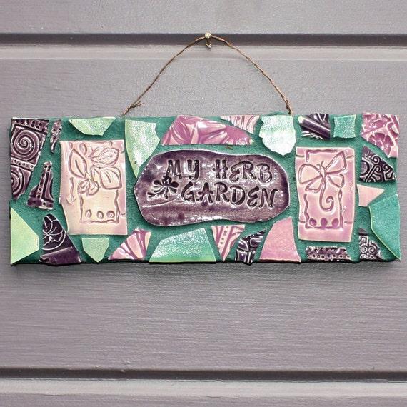 Herb Garden Butterfly Mosaic Sign