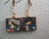 Tristan an Isolde scrabble tile earrings.Bogo sale and free shipping.