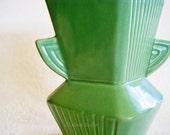 Vintage Art Deco Vase jadeite jadite green winged handles large