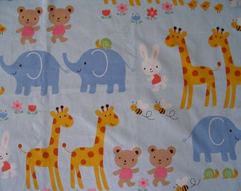 Blue Baby Fabric, 1/2 yard light blue Japanese cotton fabric with elephants, rabbit, birds, giraffes, snails, bees, and bears; yellow orange
