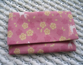 Japanese Card Case, Bunnies and Blossoms Business Card Holder, Gift Card Holder, Credit Card Case, Pink Yellow White, Rabbit Cherry Blossom