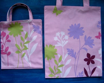 Pink Tote Bags for Mommy and Me, Pink Flowers and Butterflies Mommy and Me TIGHT 'N' TIDY Tote Bag Set, Reusable Folding Shopping Bag