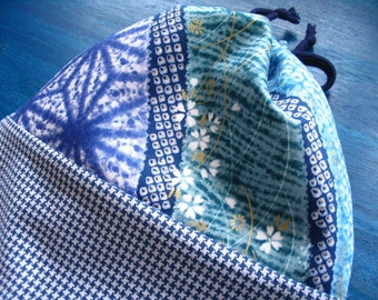 Blue Japanese Shibori and Houndstooth Drawstring Bag