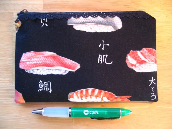 Simply Sushi Black Lace Zipper Pouch