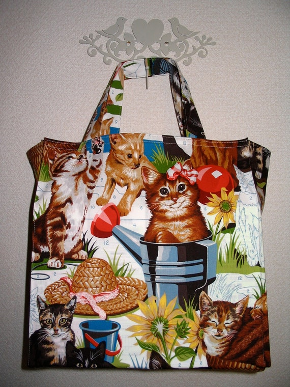 RESERVED For SN:  Paint By Number Kittens in the Garden Tight 'n' Tidy Tote Reusable Shopping Bag