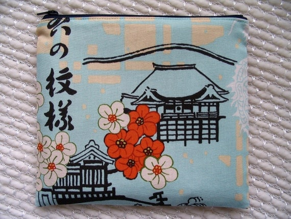 Japanese Temples and Crane Zipper Pouch