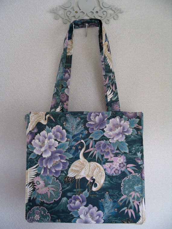 Japanese Cranes in Purple and Green TIGHT 'N' TIDY Tote Foldable Shopping Bag