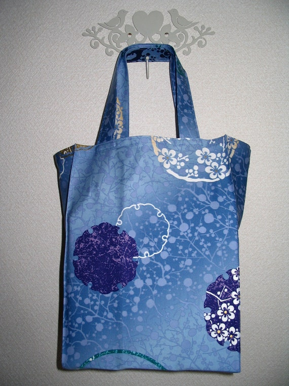 Japanese Floral Medallions TIGHT 'N' TIDY Tote Foldable Book and Shopping Bag