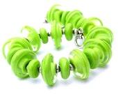 Lime Green Bracelet - Summer Bracelet - Chunky Bracelet - Glass Bead Bracelet - Lampwork Bracelet - Green Statement Bracelet -Glass Bracelet
