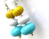 Sterling Silver Dangle Earrings, Handmade Glass Beads, mustard, gray, blue