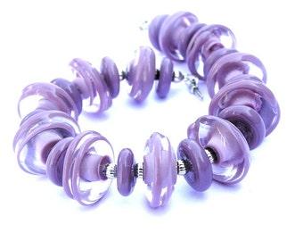 Purple Glass Bracelet - Chunky Purple Bracelet  - Designer Bracelet  - Statement Bracelet - Summer Bracelet -Modern Bracelet -Purple Jewelry