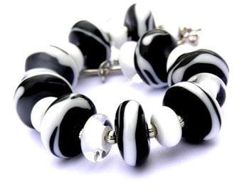 Zebra Bracelet - Large Chunky Bracelet - Black Bracelet - White Bracelet - Statement Bracelet - Animal Print - Glass Bead Bracelet -Lampwork