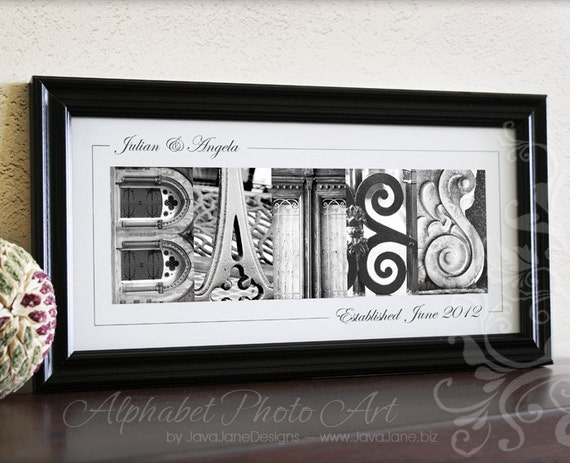 Personalized Name Frame in Black and White Alphabet Letter Photos (Custom Framed/Matted 10x20)