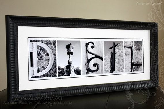 Your Name in Architecture Alphabet Letters 10x20 Unframed Print (Custom Black and White Photos)
