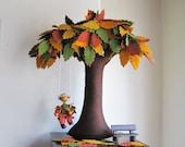 Tree Autumn Felt,  Beech with goblin, Autumn colors.