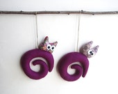 Christmas ornament.  Two Purple galaxy with owl. Felt Decoration wall hanging.