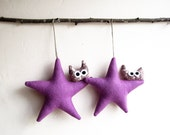 Christmas ornament. Two lilac stars with owl. Felt Decoration wall hanging.