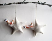 Christmas ornament. Two cream stars with bird. Felt Decoration wall hanging.