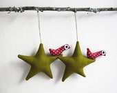 Two dark green stars with owl. Felt Decoration wall hanging.