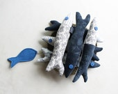 Six little sardines. Fabric fishes. Home decoration - Intres